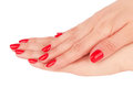 Red manicure hand with nail isolated on white background Royalty Free Stock Image