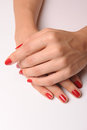 Red manicure and pedicure relaxing Stock Photos