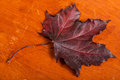 Red maple leaf autumn on a wooden background Stock Photography