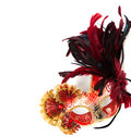 Red mardi gras or venetian mask on a white background Royalty Free Stock Photo