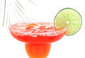 Red Margarita cocktail with mint and lime slice in chilled salt Royalty Free Stock Photo