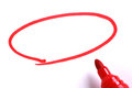 Red marker with blank drawing circle on white paper Royalty Free Stock Image