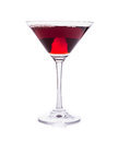 Red martini cocktail glass isolated on white Royalty Free Stock Photo