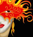 Red mask face of woman with Royalty Free Stock Image