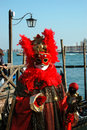 Red mask at Venice carnival 2011,Italy Royalty Free Stock Image