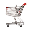 Red matal shopping trolley isolated white background Royalty Free Stock Photos