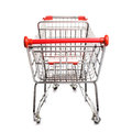 Red matal shopping trolley isolated white background Stock Photography