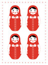 Red matryoshka four emotions