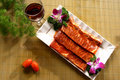 Red meat platter and wine Royalty Free Stock Image
