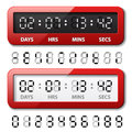 Red mechanical counter - countdown timer Stock Images