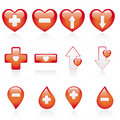 Red medical icon set Stock Image