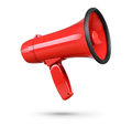 Red megaphone isolated on white background. File contains a path to isolation. Royalty Free Stock Photo