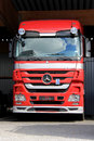 Red mercedes benz actros truck lieto finland august in lieto finland on august in the interim report q daimler group plans to Royalty Free Stock Photos