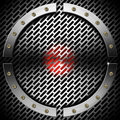 Red and metal background with grid and circle business hexagons bolts Royalty Free Stock Photos