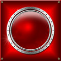 Red and metal background with round banner metallic industrial template rounded Stock Image
