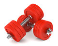 Red metal dumbells Royalty Free Stock Photo