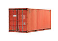 Red metal freight shipping container isolated bright on white Stock Photography