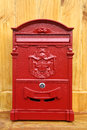 Red metal mail box vintage Royalty Free Stock Images