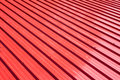Red metal sheet for industrial building and construction. Royalty Free Stock Photo