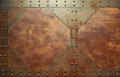 Red metal texture with rivets Royalty Free Stock Photo
