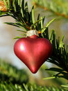 Red metallic Christmas heart Royalty Free Stock Photography
