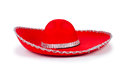 Red mexixan sombrero hat isolated on white Stock Images