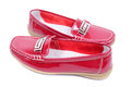 Red mocassins bright glossy closeup Royalty Free Stock Image