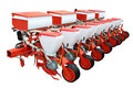 Red modern seeder separately on a white background Stock Image
