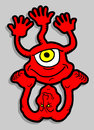 Red monster creative design of bizarre Royalty Free Stock Images