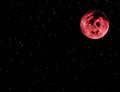 Red moon in night sky and stars Royalty Free Stock Photo