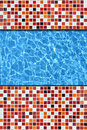 Red mosaic pavement pool Royalty Free Stock Photo