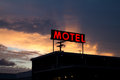 Red Motel Sign with Brilliant Sunset Royalty Free Stock Image