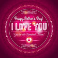 Red Mothers day greeting card with hearts and wishes text