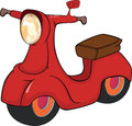 Red motor scooter cartoon bright moped with the big headlight Stock Photos
