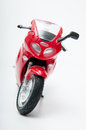 Red motorcycle toy on white background Stock Photography