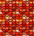 Red mottled hearts vector seamless pattern bright Stock Image