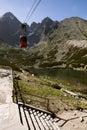 Červená horská lanovka