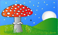 The red mushroom in the night Royalty Free Stock Photography