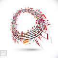 Red music background with clef and notes. Royalty Free Stock Photo