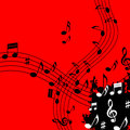 Red Music Background Means Soundwaves Piece And Notes Royalty Free Stock Photo