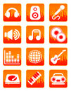 Red music and sound icons Royalty Free Stock Image