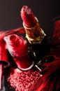 Red nail enamel lipstick Royalty Free Stock Photos