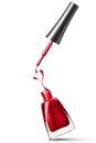 Red nail polish bottle with splash