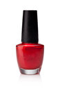 Red nail polish bottle white background Royalty Free Stock Photos