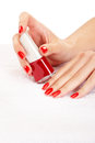 Red nails closeup image of manicure on top of towel Stock Image