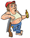 Red neck holding a beer cartoon isolated on white Royalty Free Stock Photography