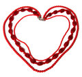 Red necklace in heart shape Royalty Free Stock Images