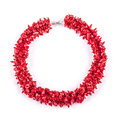 Red necklace isolated on white Royalty Free Stock Image