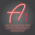 Red neon alphabet and numbers vector set of Stock Images