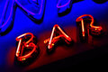 Red Neon Bar Sign Royalty Free Stock Photography